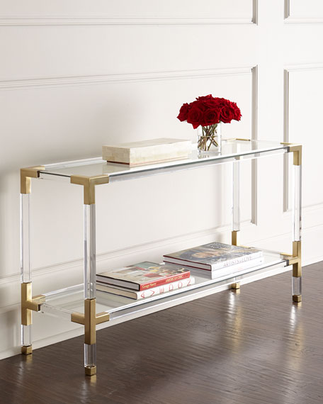 Jacques Acrylic & Brass Console