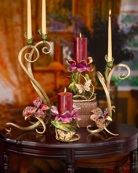 "Meredith Floral 9"" Pillar Candleholder"