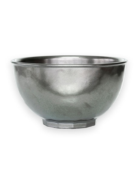 "Four ""Pewter"" Cereal Bowls"