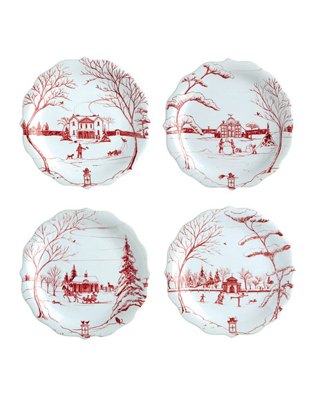 Ruby Winter Frolic Party Plates, Set of 4