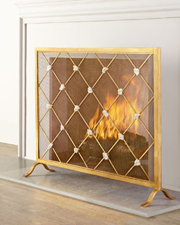 Giallastro Marble-Accent Fireplace Screen