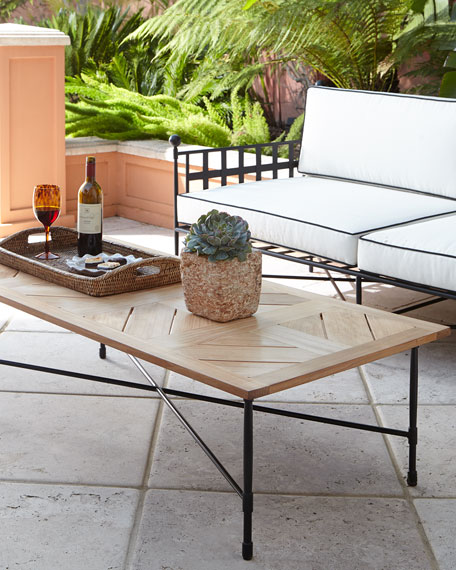 Avery Neoclassical Teak Outdoor Coffee Table - Teak and metal outdoor table