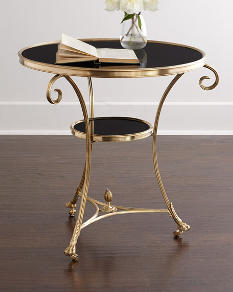 Etonnant Global Views Black Granite Side Table