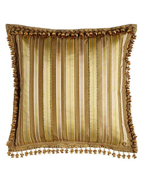 Striped European Sham with Gimp & Cord Accents & Onion Trim