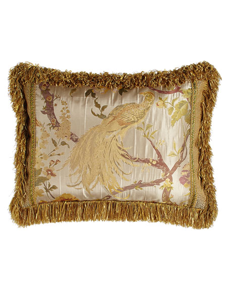 Standard Sham with Pheasant Center, Gimp Accents, & Brush Fringe