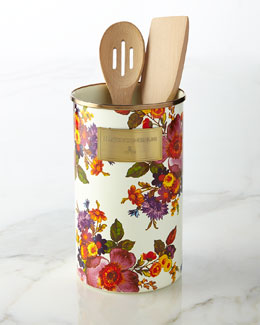 Flower Market White Utensil Holder