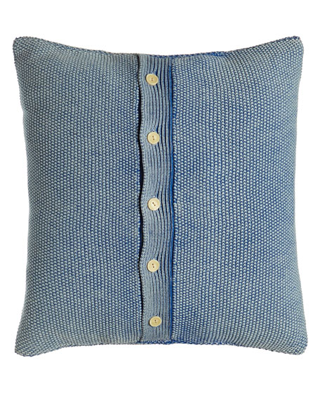 "Indigo Montauk Blue Knit Pillow, 18""Sq."