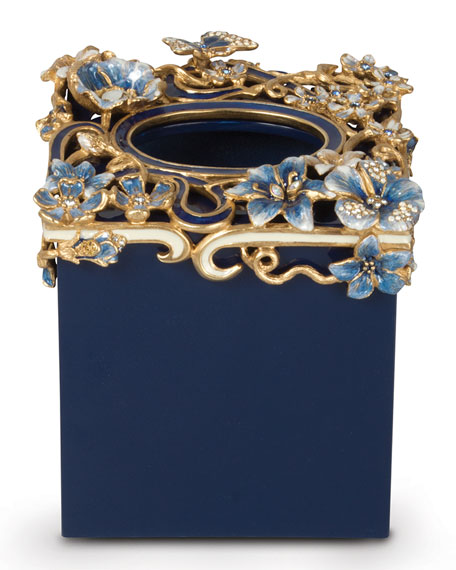 Jay Strongwater Hartley Delft Floral Scroll Tissue Box
