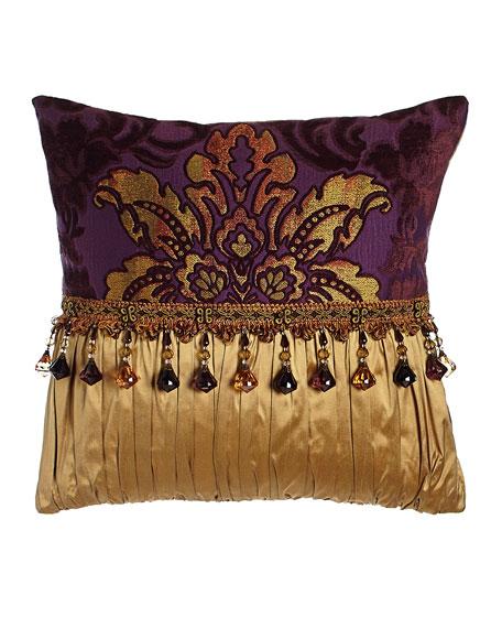 "Royal Court Pieced Pillow, 17""Sq."