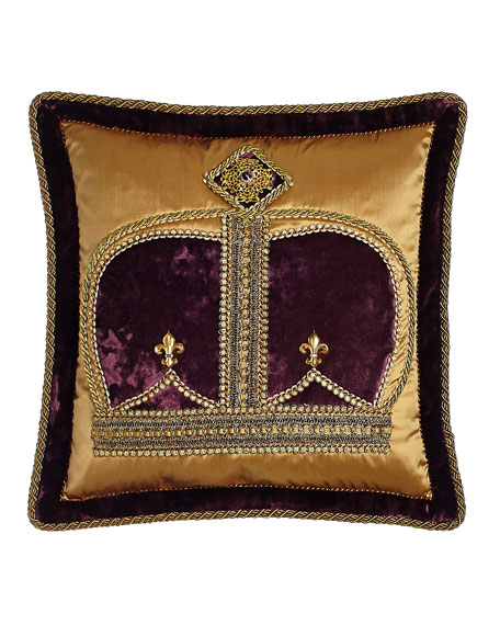 "Royal Court Crown Pillow, 18""Sq."
