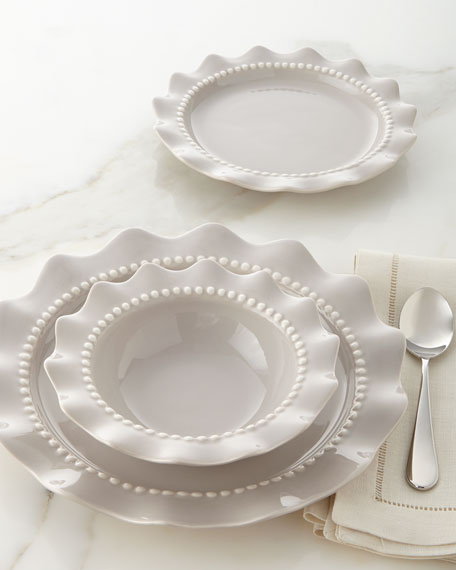 & 12-Piece Beaded Ruffle Dinnerware Service
