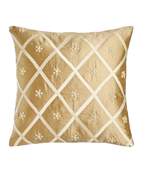 "Silk Pillow with Beaded Flower/Lattice Design, 17""Sq."