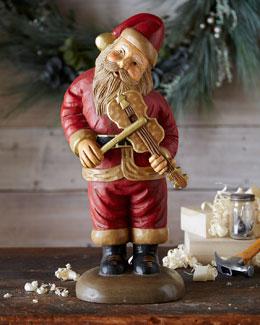 Santa with Violin Figure