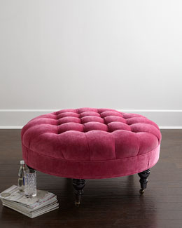 French Beret Tufted Velvet Ottoman
