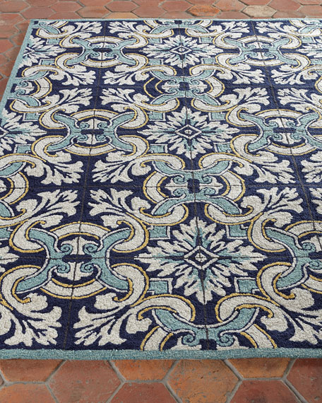 "Paige Floral Tile Indoor/Outdoor Rug, 3'5"" x 5'5"""