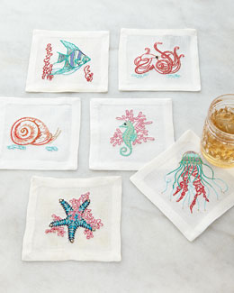 Aquatic Life Cocktail Napkins, 6-Piece Set