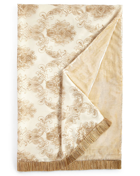 "Catania Throw with Embroidered Sheer Overlay, 50"" x 71"""