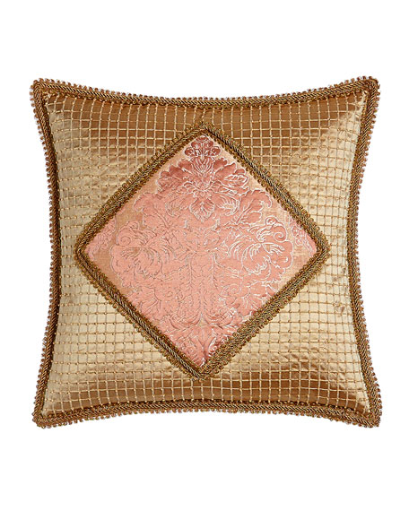 """Rue de L'amour Beaded Pillow with Damask Center, 20""""Sq."""
