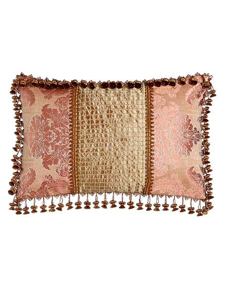 """Rue de L'amour Pillow with Beaded Silk Center, 15"""" x 23"""""""