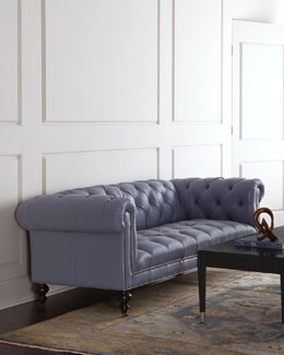 Morgan Periwinkle Tufted Leather Sofa