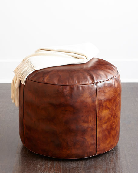 jozy leather pouf. Black Bedroom Furniture Sets. Home Design Ideas