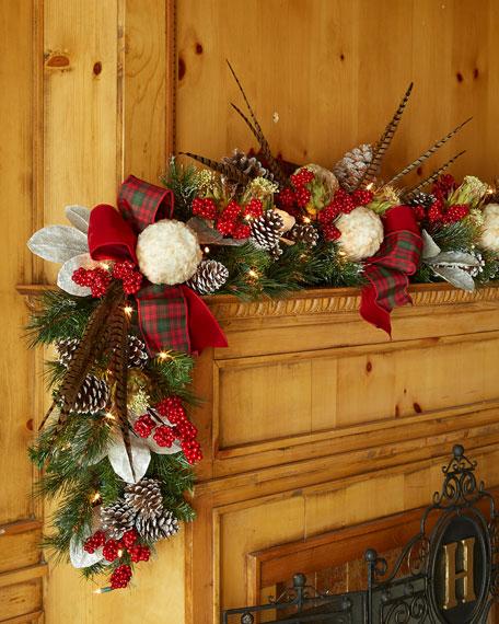 Pre lit highland fling 6 39 christmas garland for Christmas garland on fireplace