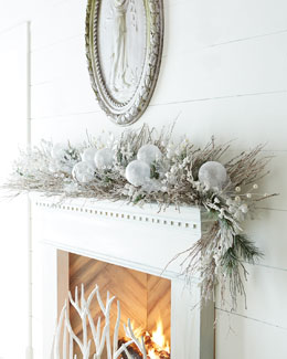 White Christmas 6' Garland