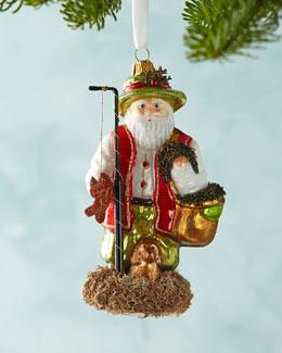 Fishing Santa Christmas Ornament