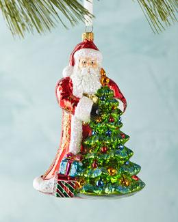 Santa with Christmas Tree Ornament