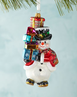 Snowman with Presents Christmas Ornament