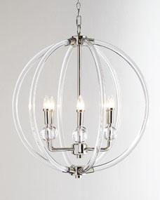 Lucite Silver Six-Light Pendant