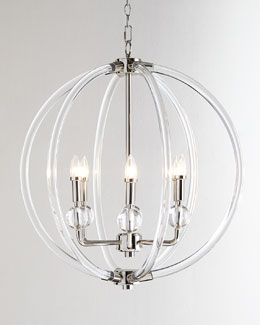 Lucite Silver Six-Light Pendant
