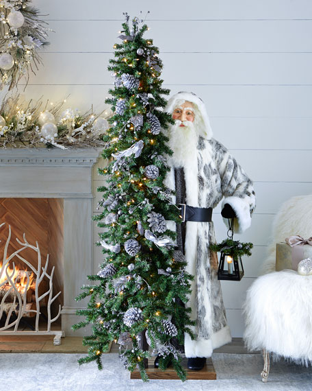 Ditz Designs By The Hen House Silver Night Santa With Tree