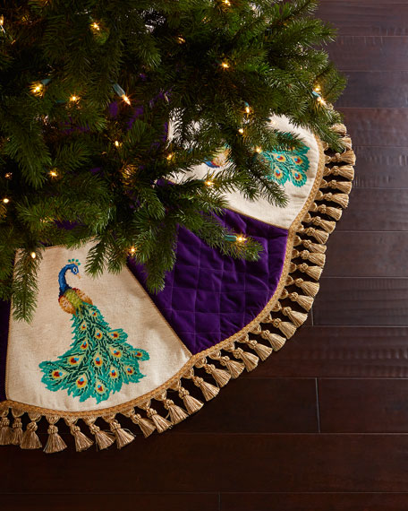 peking handicraft peacock needlepoint christmas tree skirt - Peacock Christmas Tree