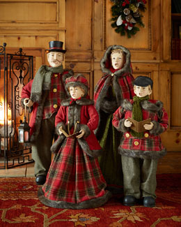 Caroling Family Floor Figures, 4-Piece Set