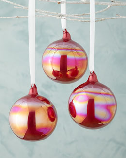 Pearl Glass Ball Christmas Ornament, Set of 3