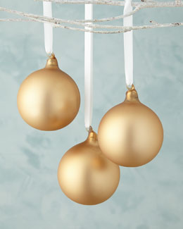 Bronze Matte Glass Ball Christmas Ornament, Set of 3