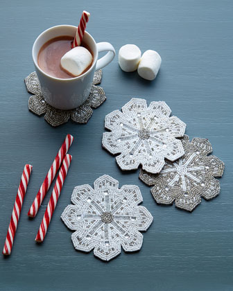 Beautiful beaded snowflake coasters