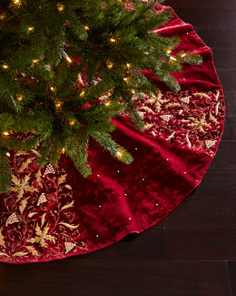 Burgundy Velvet Christmas Tree Skirt