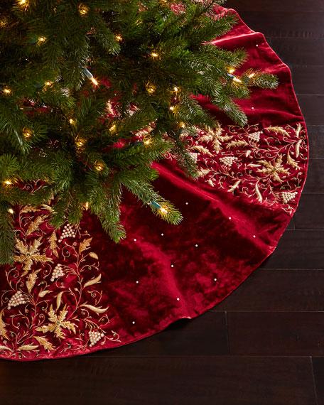 Sudha pennathur burgundy velvet christmas tree skirt