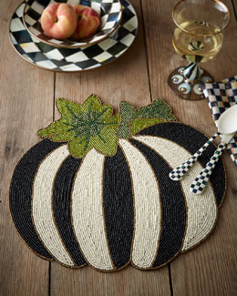 Autumn Harvest Beaded Flat Pumpkin