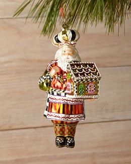 Candy Cottage Santa Ornament