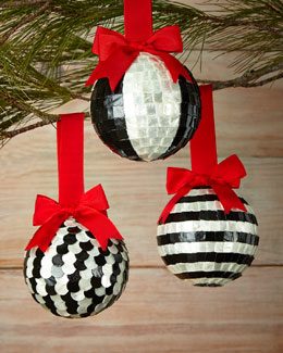 Black Tie Christmas Ball Ornaments, 3-Piece Set