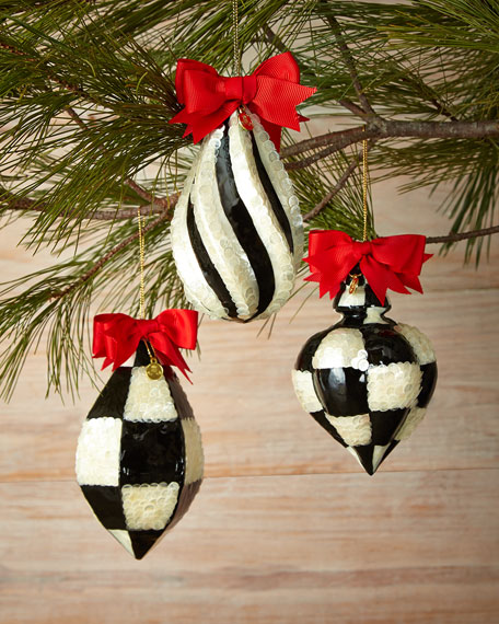 mackenzie childs capiz fancy christmas ornaments 3 piece set