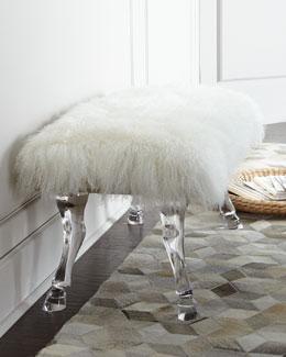 Centaur White Sheepskin Bench