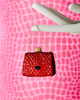 Red Glitter Bag Christmas Ornament