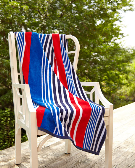 Red, White, & Blue Striped Beach Towel
