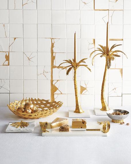 Mixed Palm Candleholders, 2-Piece Set