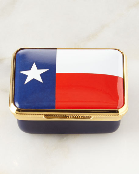 Halcyon Days Enamels Lone Star Flag Small Box