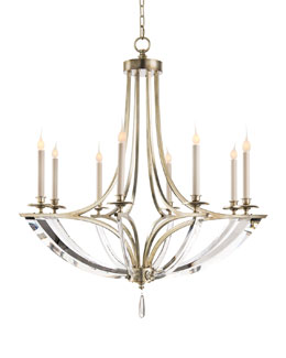 Bent Eight-Light Crystal Chandelier